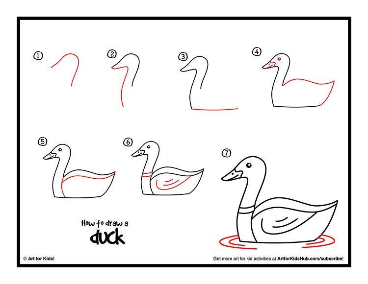 dibujo fácil de animal de granja a lápiz paso a paso pato patito