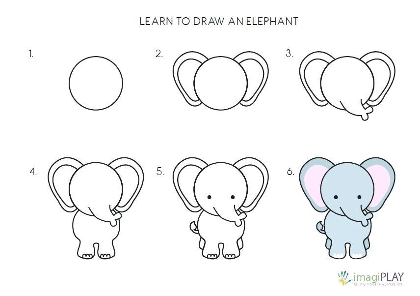 dibujos fáciles de elefante kawaii paso a paso hermoso