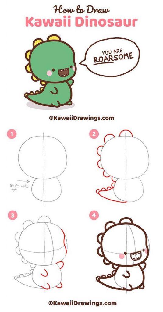 dibujo fácil de animal kawaii a lápiz paso a paso dinosaurio bebé tierno
