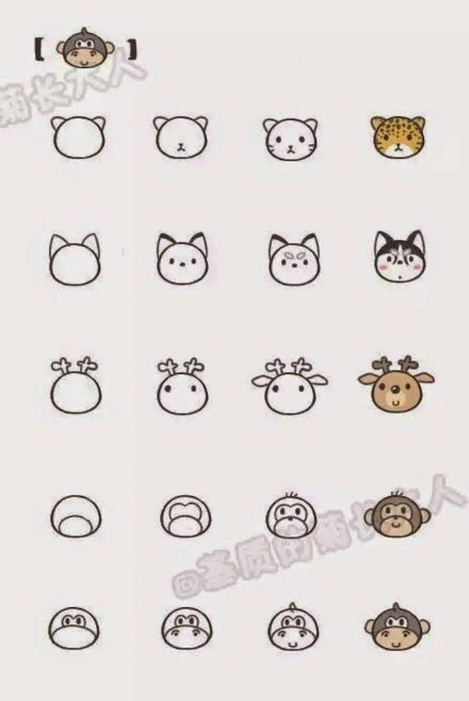 dibujos fáciles de animales kawaii a lápiz paso a paso leopardo reno mono