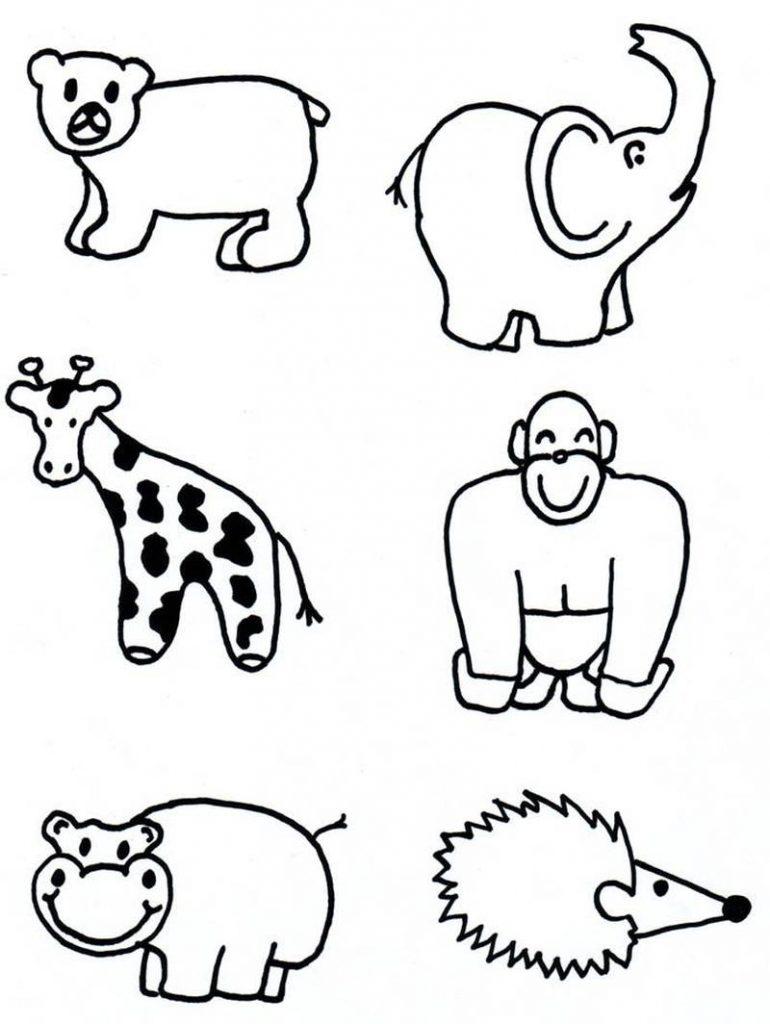 dibujos fáciles de animales salvajes a lápiz para copiar gorila jirafa hipopótamo puercoespín elefante oso