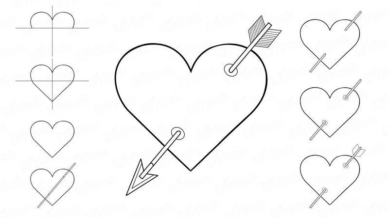dibujos fáciles de corazones con flechas a lápiz paso a paso corazón flechado