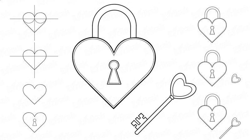 dibujo fácil de corazón con llave a lápiz paso a paso candado