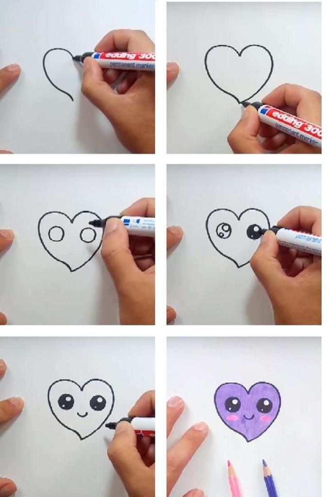 dibujos fáciles de corazón kawaii a lápiz paso a paso para colorear con niños