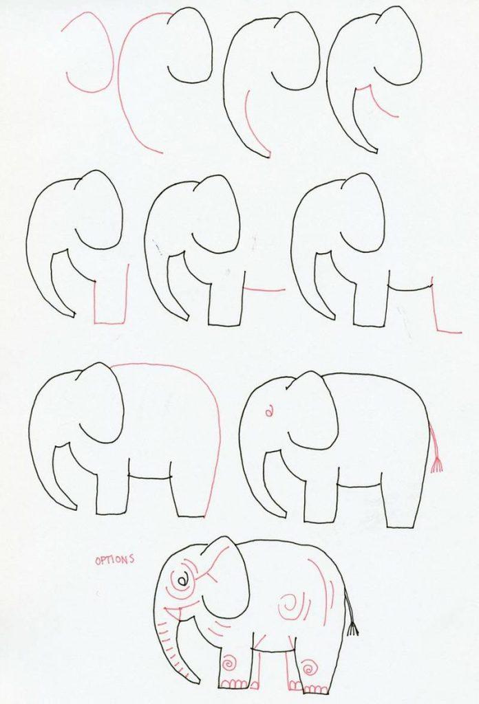 dibujo fácil de elefante a lápiz paso a paso