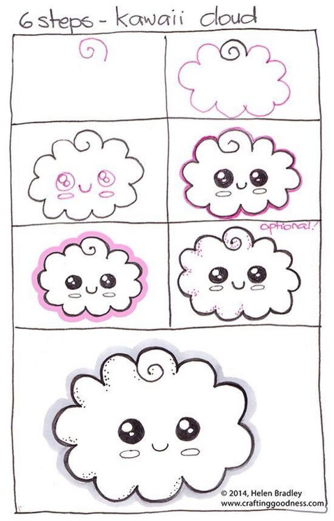 dibujos fáciles de nubes tutorial paso a paso para niños para pintar kawaii