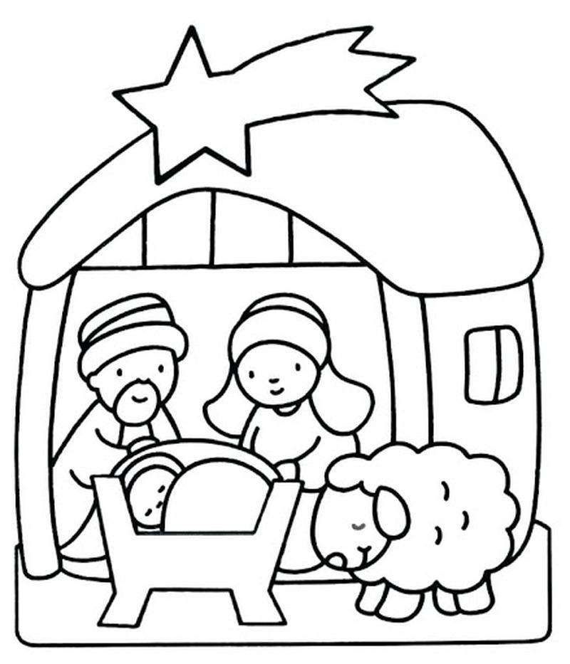 dibujo fácil de pesebre de navidad con niño jesus para calcar copiar y pintar colorear con niños