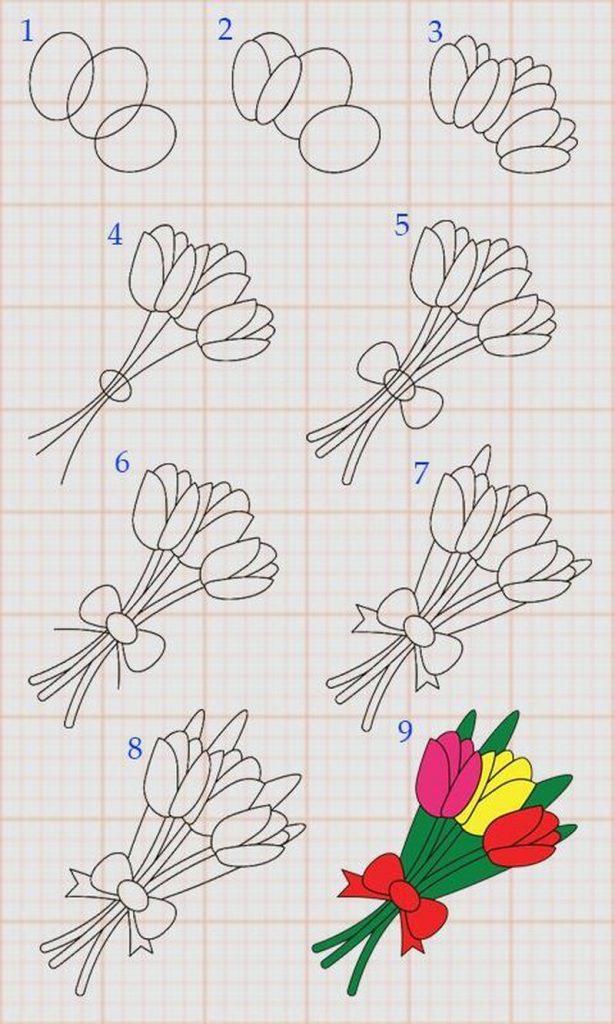 dibujo fácil de ramo de flores paso a paso para pintar