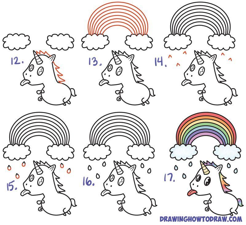 dibujos fáciles de unicornios arcoiris tutorial paso a paso para niños para pintar