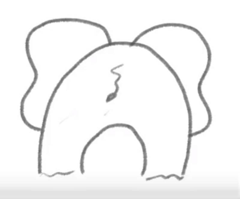 dibujo fácil de elefante por detrás a lápiz paso a paso para niños elefante básico de atrás