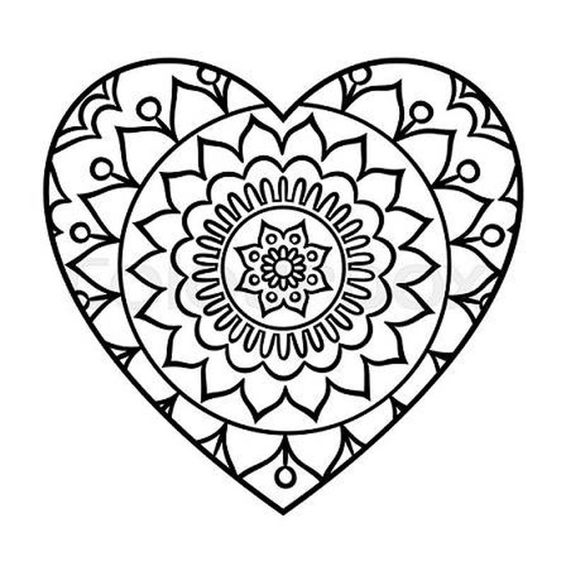 mandala con forma de corazón para imprimir y pintar corazones