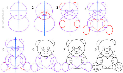 dibujos fáciles de osos con corazones paso a paso peluche con corazón para hacer a lápiz