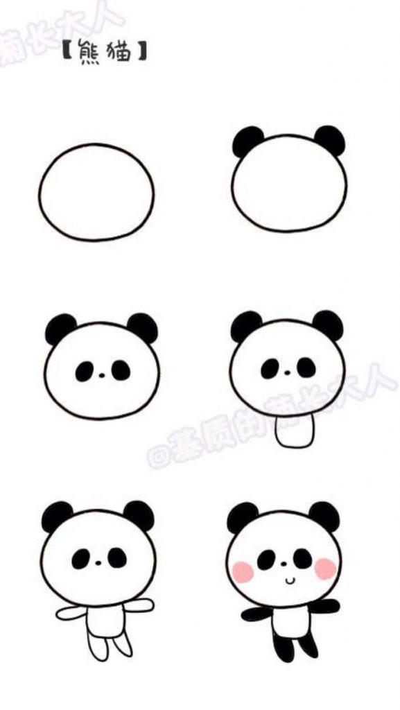 dibujar fácil un oso panda kawaii bonito paso a paso para niños