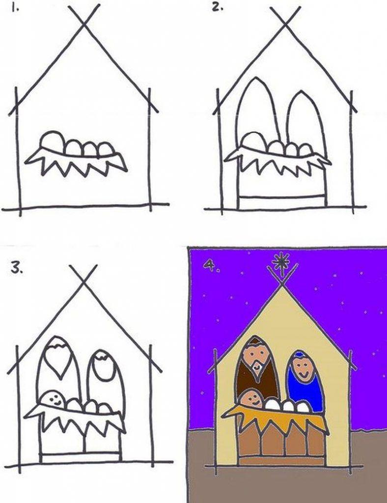 dibujo simple de pesebre paso a paso para hacer con niños a lápiz y colorear