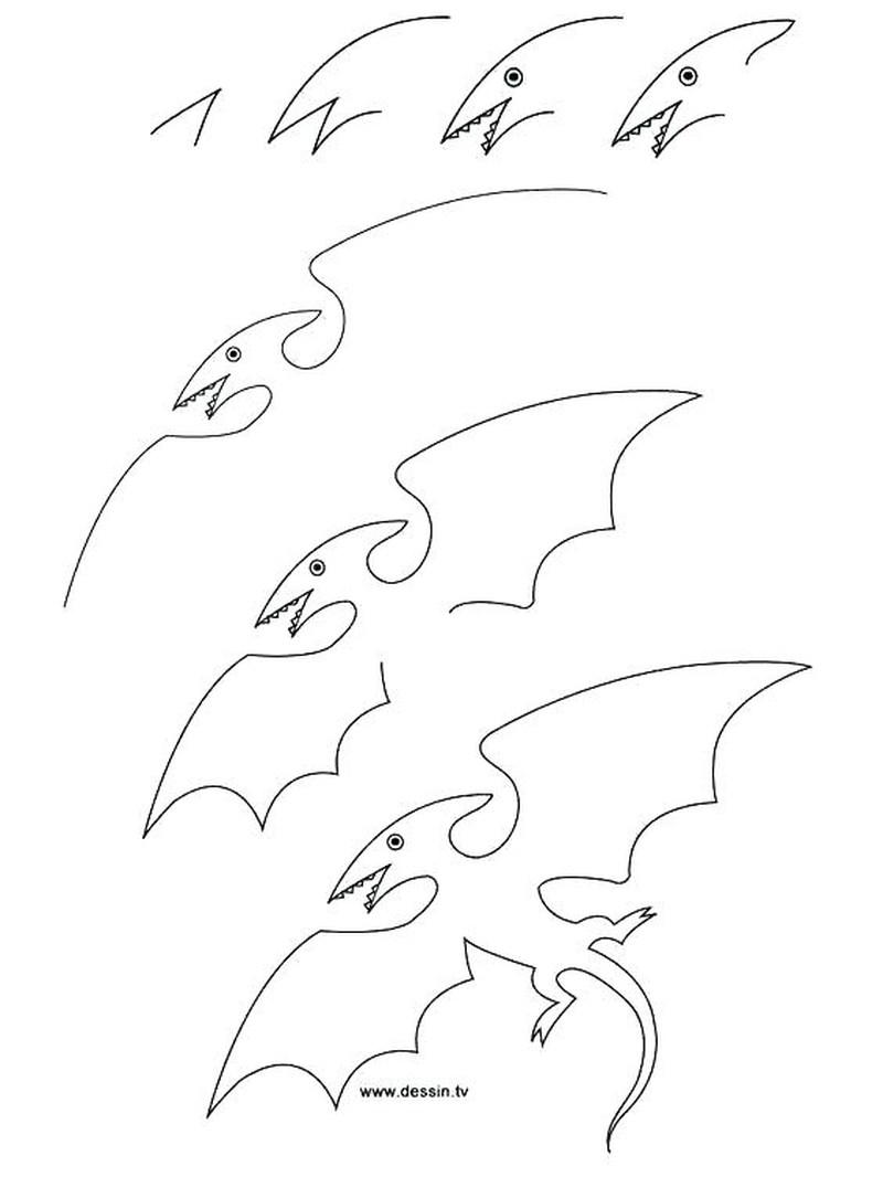 dinosaurio pterodactilo dibujar facil alas vuela dibujos paso a paso para niños