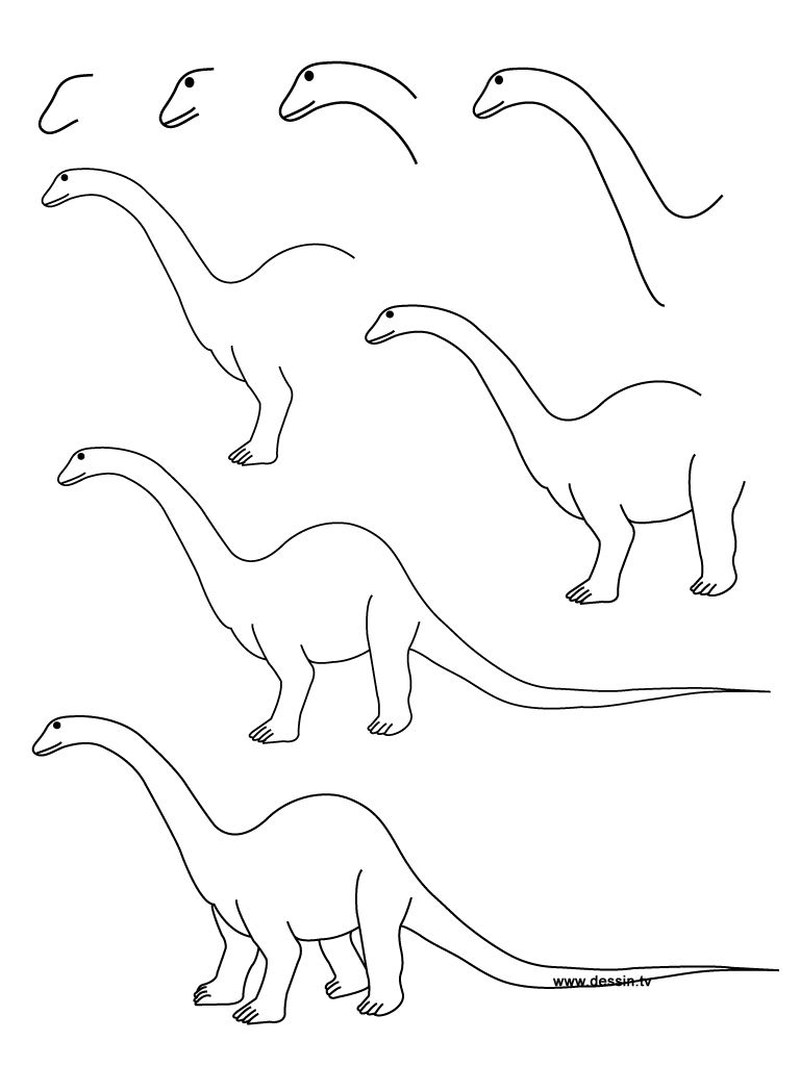 dinosaurios braquiosaurios dibujos faciles paso a paso para niños a lápiz