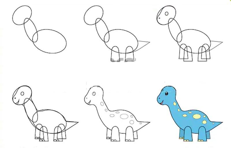 dinosaurios herbivoros dibujos faciles a lápiz paso a paso para niños