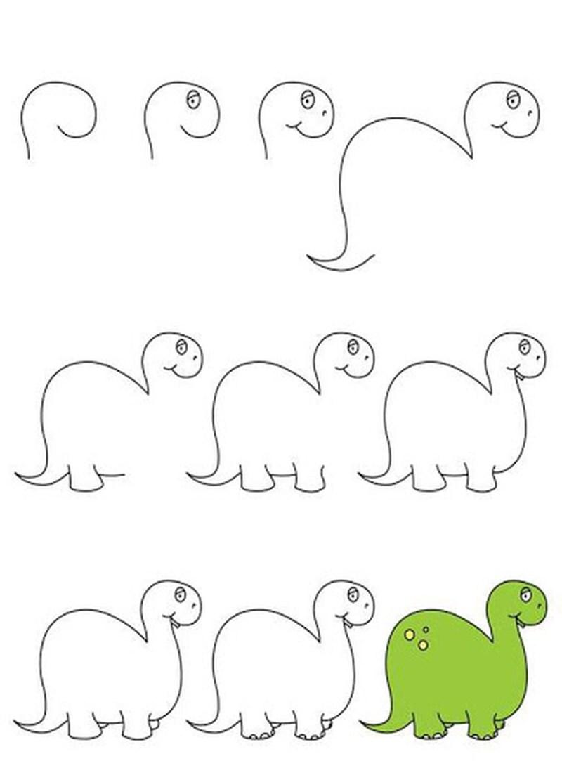 dinosaurios herbivoros dibujos faciles paso a paso para niños para pintar