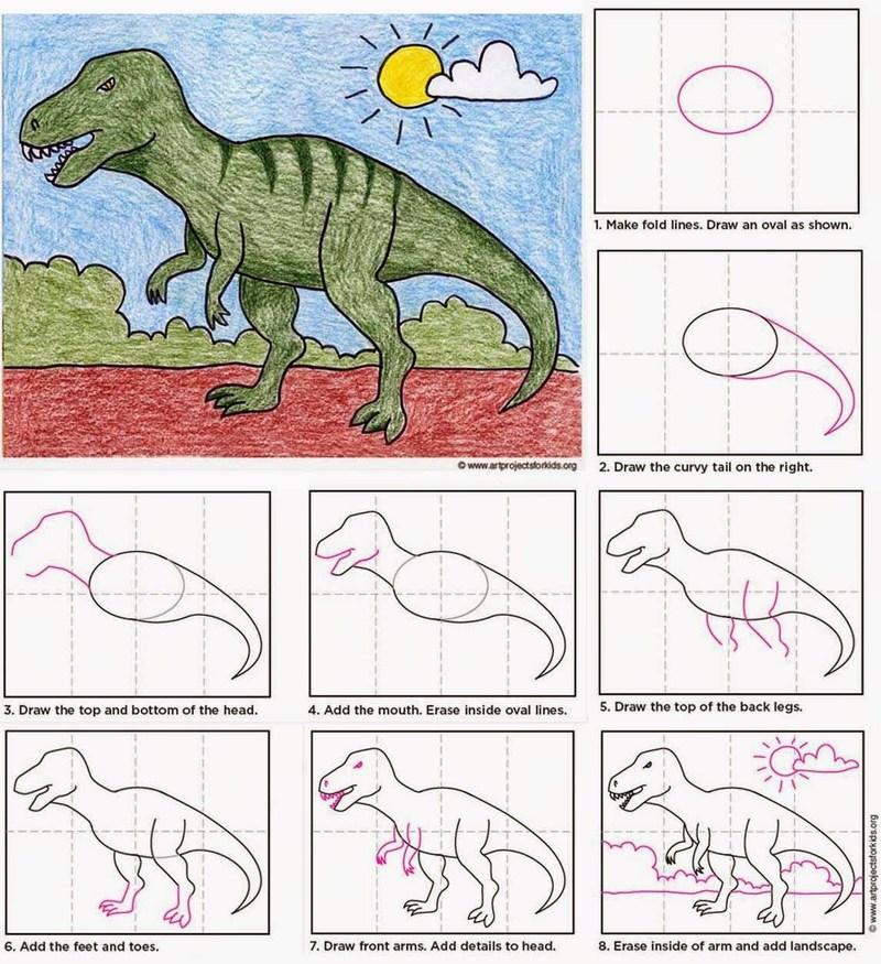 dinosaurios tiranosaurio rex dibujos faciles paso a paso para niños a color