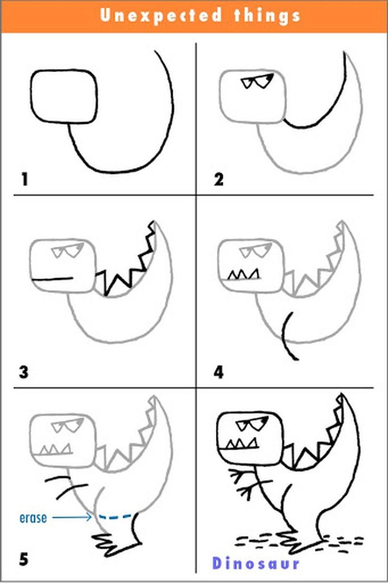 dinosaurios tiranosaurio rex dibujos faciles paso a paso para niños