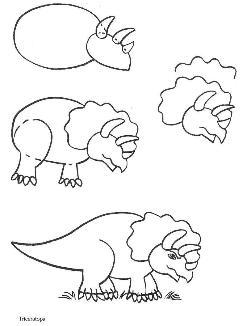 dinosaurios triceratops dibujar dibujos faciles paso a paso para niños