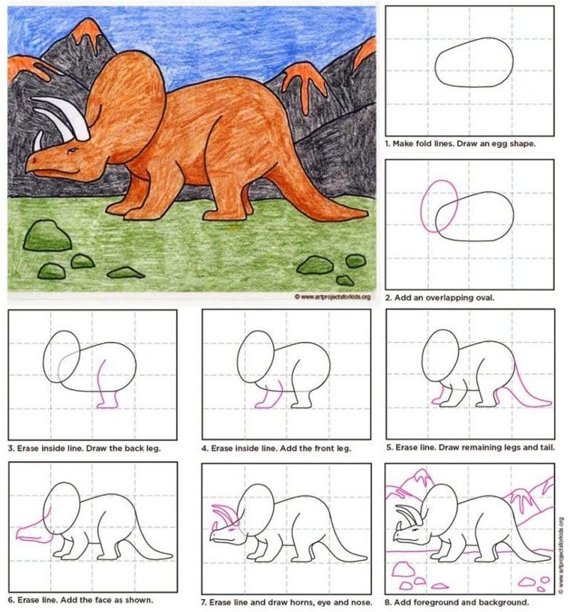 dinosaurios triceratops dibujar dibujos fáciles paso a paso para niños