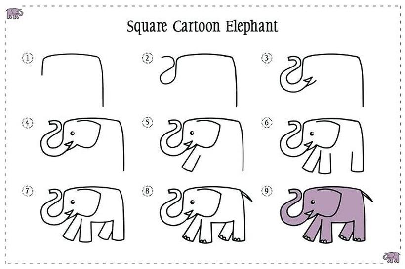 dibujos fáciles de elefantes a lápiz paso a paso para niños elefante simple para colorear