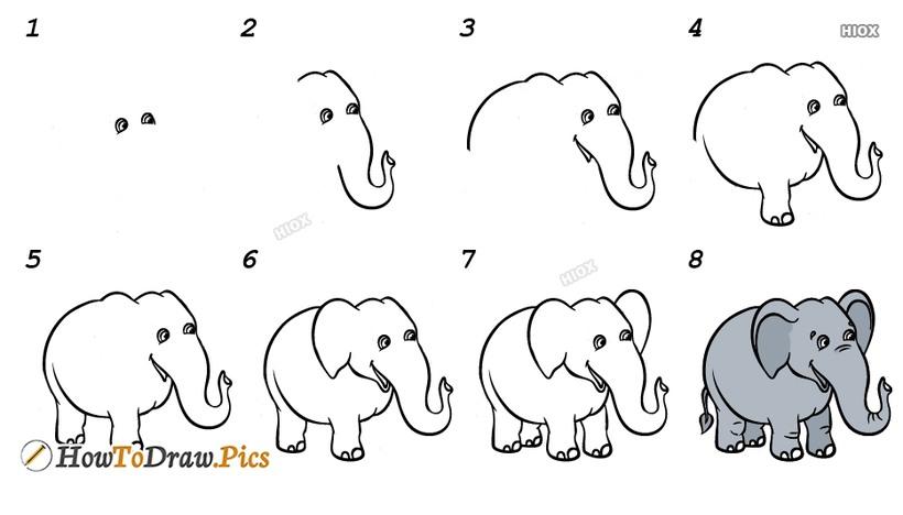 dibujo fácil de elefante a lápiz paso a paso para niños elefantito simpático animado