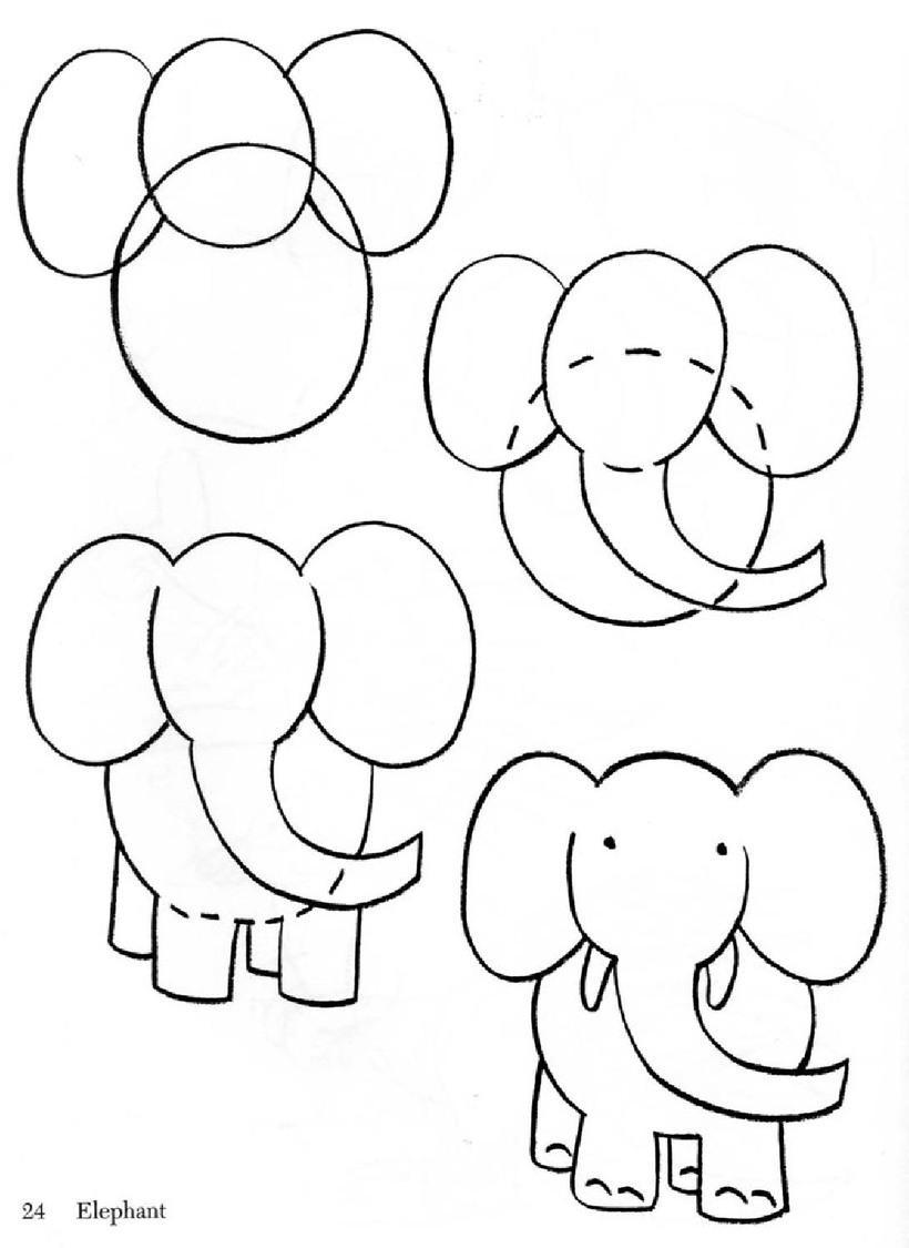 dibujos fáciles de elefantes a lápiz paso a paso para niños pequeños elefantito