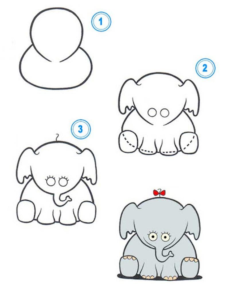 dibujos fáciles de elefantes a lápiz paso a paso para niños elefanta bebé con moño