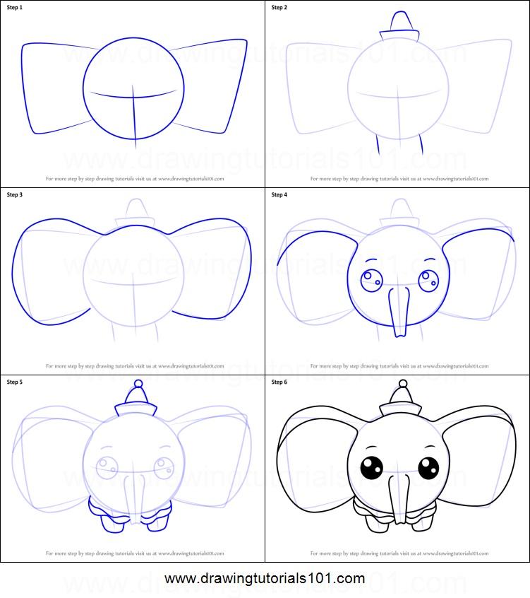dibujos fáciles de elefantes a lápiz paso a paso para niños elefante kawaii