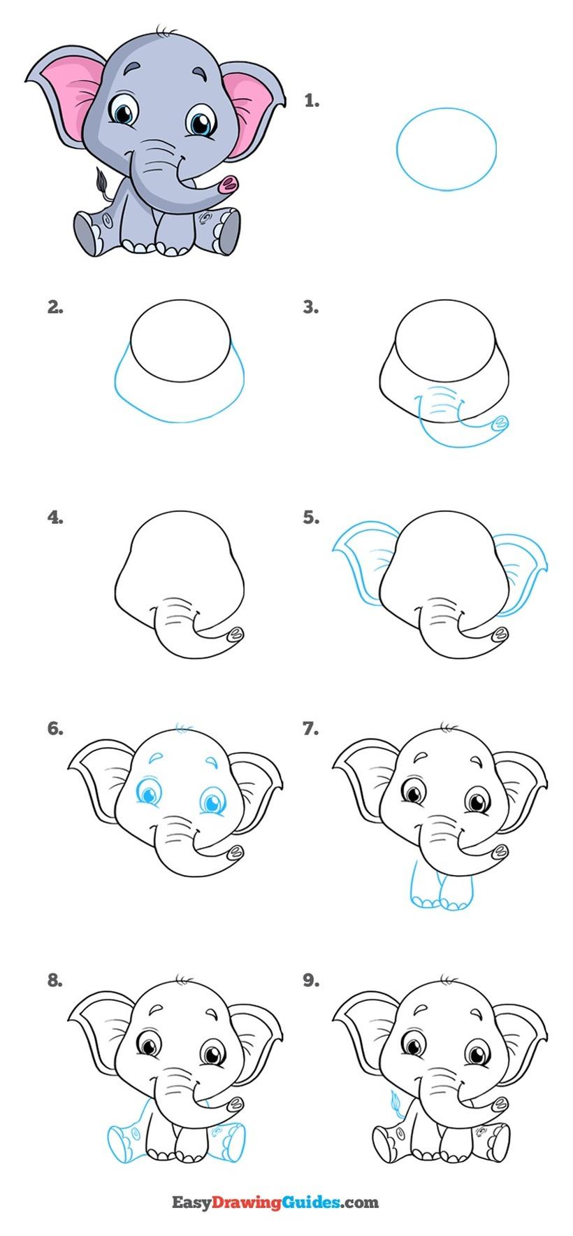 dibujos fáciles de elefantes a lápiz paso a paso para niños elefante bebé elefantito