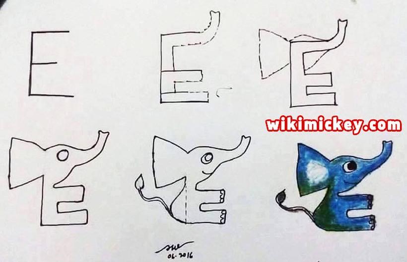 dibujos fáciles de elefantes a lápiz paso a paso para niños elefante dibujado con la letra E