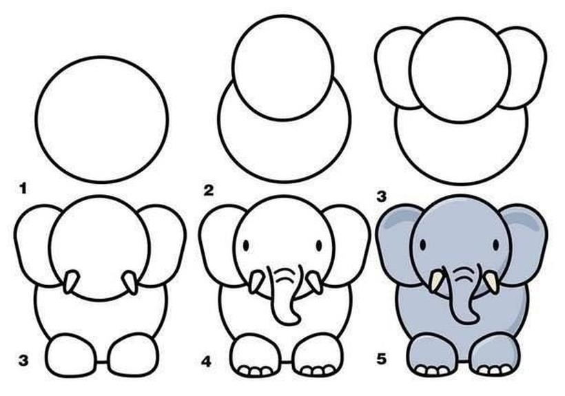 dibujos fáciles de elefantes a lápiz paso a paso para niños elefante super tierno