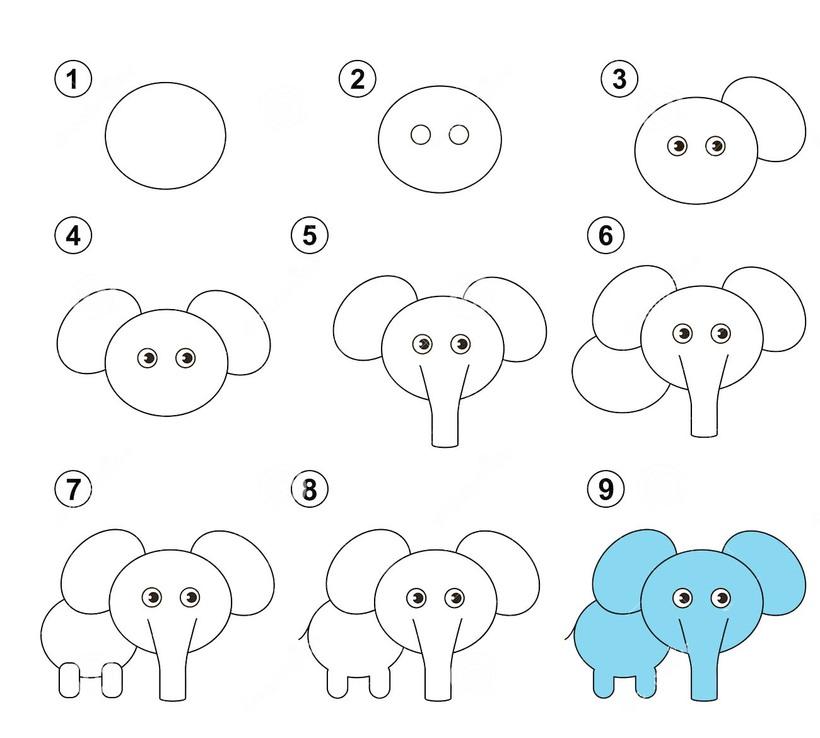dibujos fáciles de elefantes a lápiz paso a paso para niños elefante bebé simple