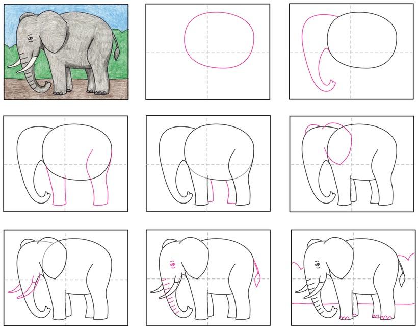 dibujos fáciles de elefantes a lápiz paso a paso para niños elefante para imprimir y pintar
