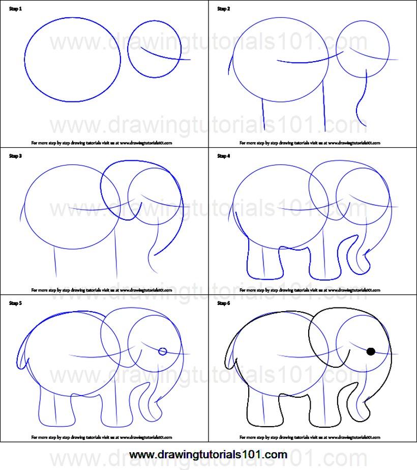 dibujos fáciles de elefantes a lápiz paso a paso para niños elefante básico