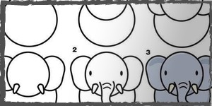 elefantes dibujos faciles