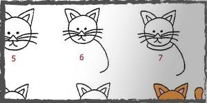 gatos dibujos faciles