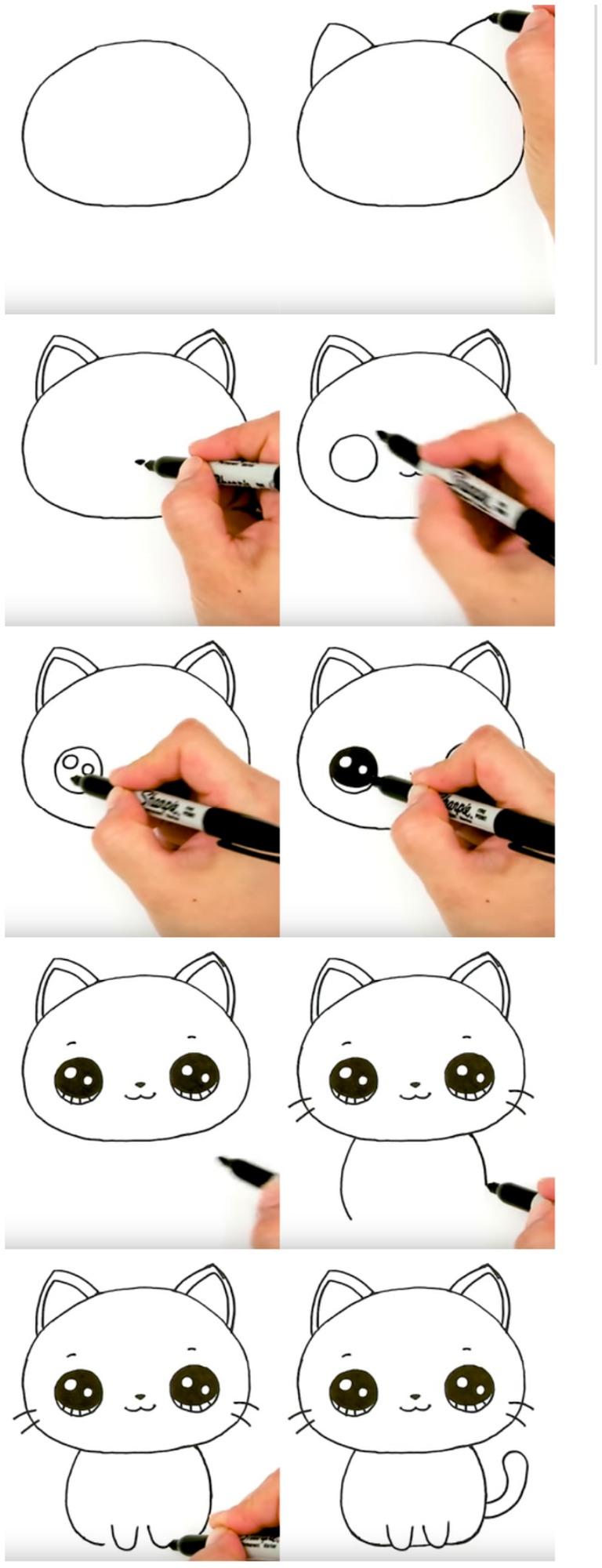 gatos kawaii bellos gato a lápiz  dibujos faciles para copiar paso por paso con niños