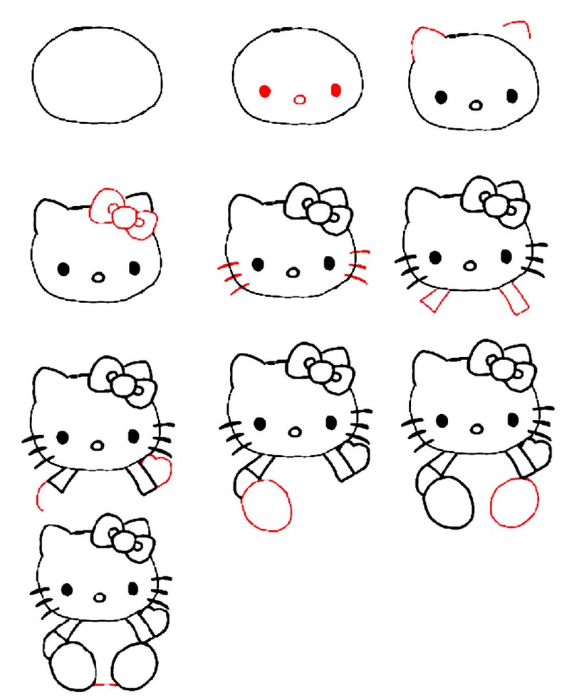 gatos gato dibujos faciles tutorial para niños gatita hello kitty