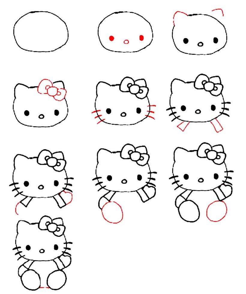 dibujos fáciles hello kitty paso a paso personajes famosos animados dibujar este personaje cartoon gatos gato