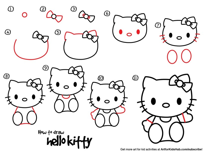 gatos gato dibujos faciles tutorial paso por paso gatita hello kitty