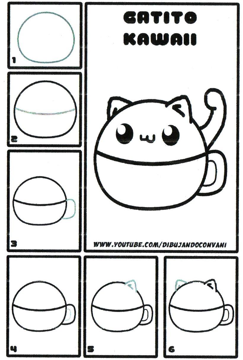 gatos gato dibujos faciles de gatito kawaii tierno