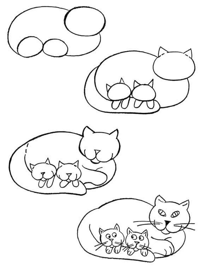 gatos simples gato con gatitos dibujos faciles guia paso a paso a lápiz para colorear