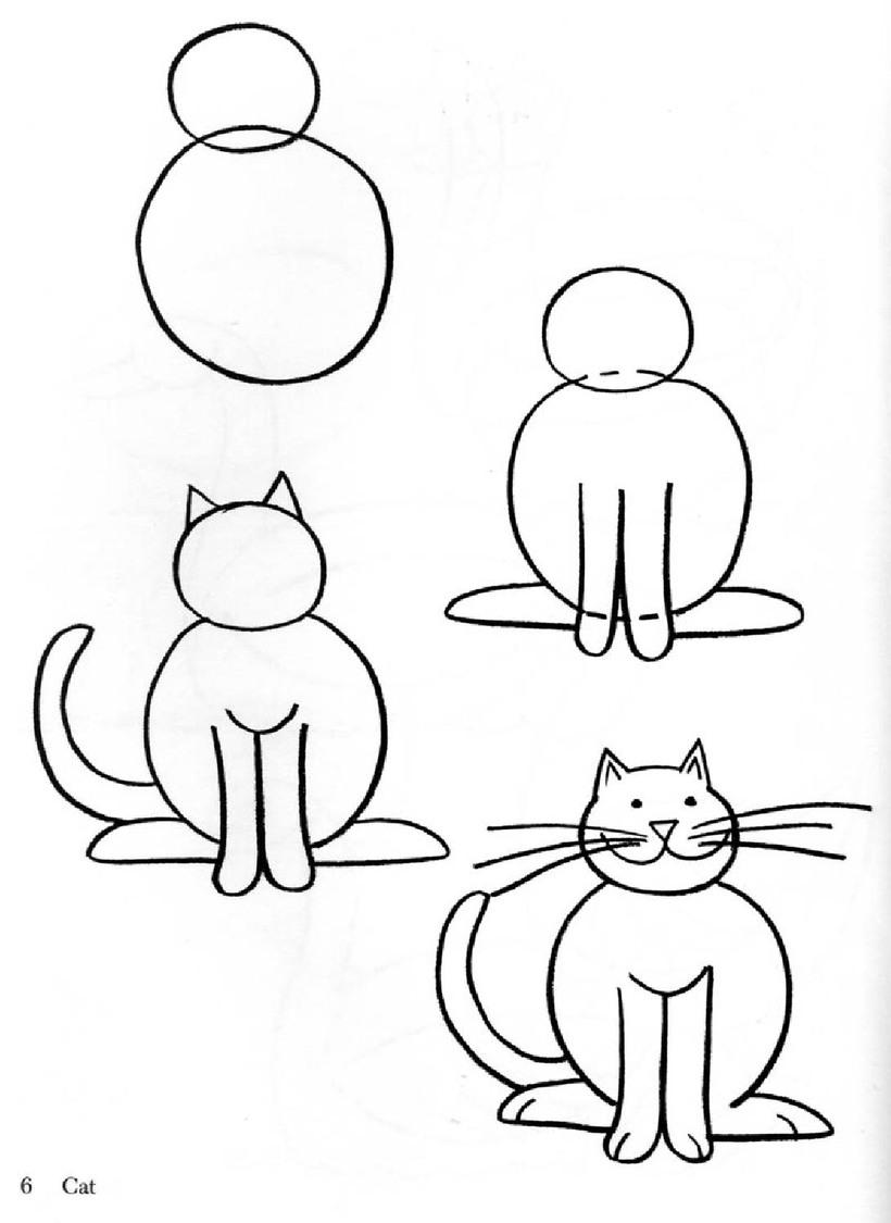 gatos gato feliz dibujos faciles guia paso por paso