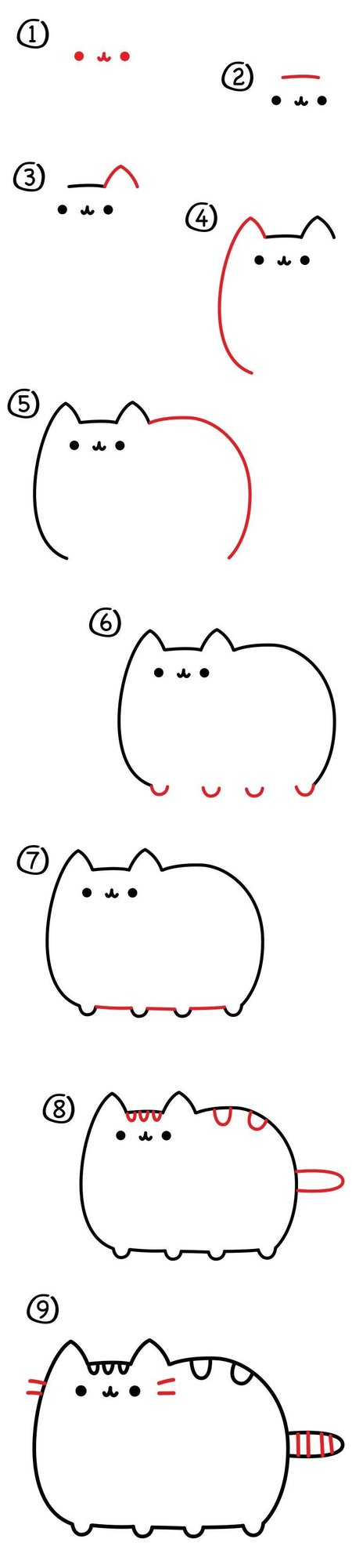 dibujos fáciles pusheen paso a paso personajes famosos animados dibujar este personaje cartoon gatos gato