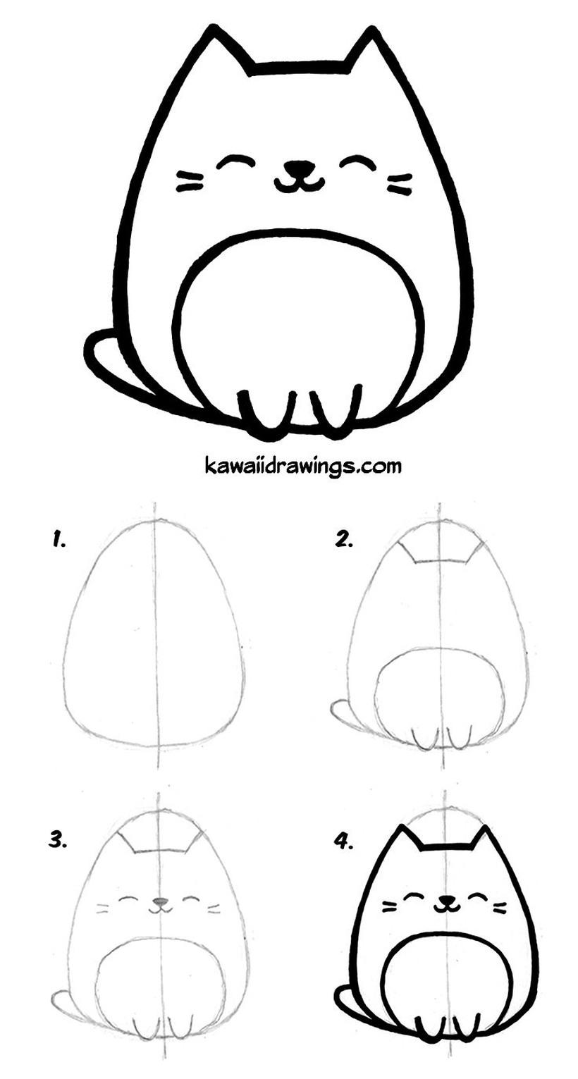 gatos gato dibujos faciles kawaii para niños simples a lápiz gatito feliz