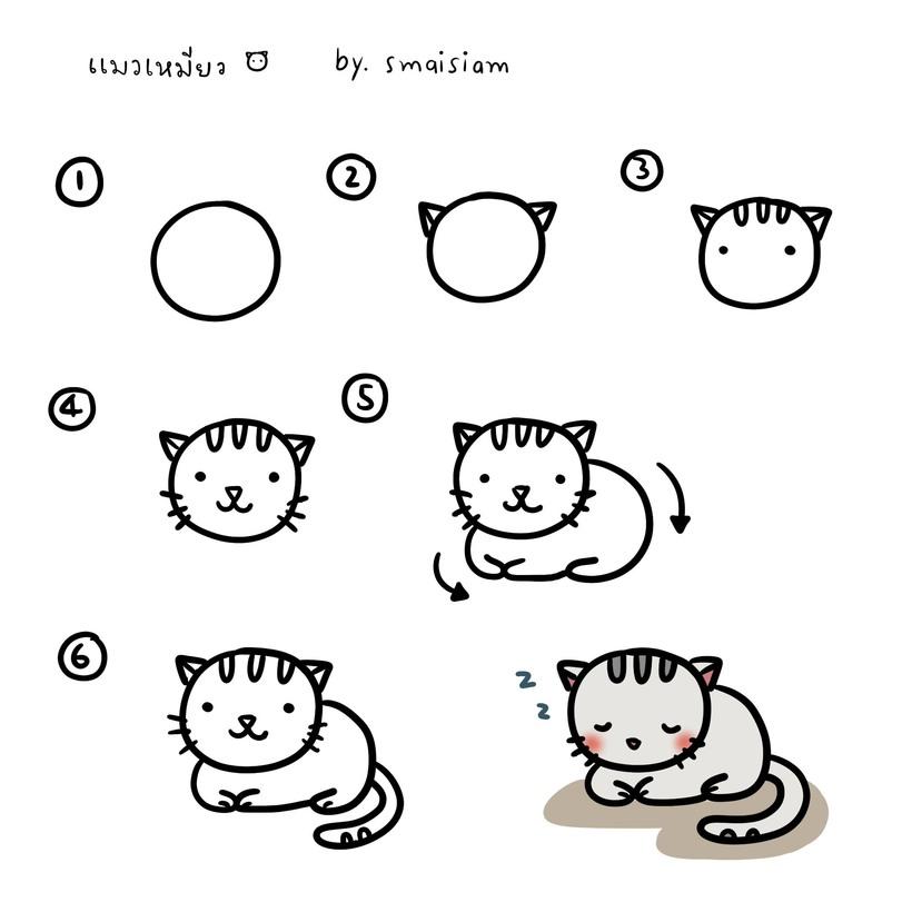 gatos gato dibujos faciles con instrucciones para hacer gatitos tiernos y pintar