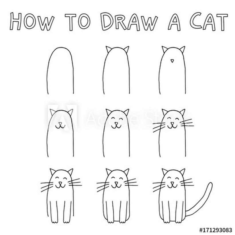 gatos gato dibujos faciles gatitos felices en pocos pasos